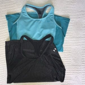 Bundle of two Nike and Under Armor active tanks
